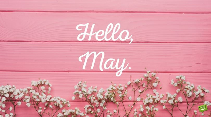 Hello May on photo with pink wooden wall and flowers